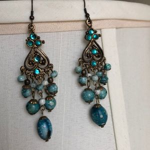 H&M turquoise statement earrings